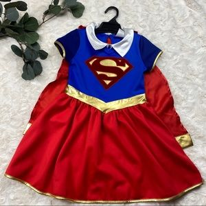 Supergirl costume dress girls medium red & blue